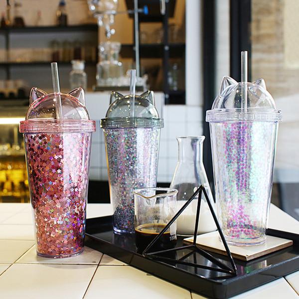 Katze Ohr Blinkend Doppel Tasse paillette pailletten Kinder Baby Cartoon Nette Kreative Kunststoff Tumbler Strohhalme Saft Weinglas flasche 50 stücke LJJA2868
