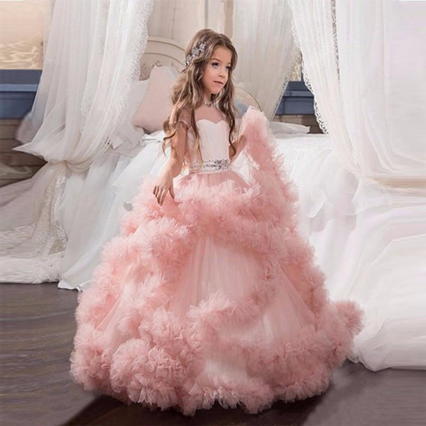 2020 Hot Cheap Fashion Flower Girl Dresses Blush Pink First Communion Gowns For Girls Ball Gown Cloud Beaded Pageant Gowns