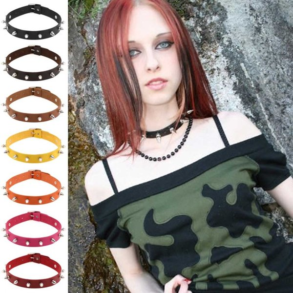 Punk Lady gothique cuir Choker coeur chaîne de Spike Rivet boucle Collier