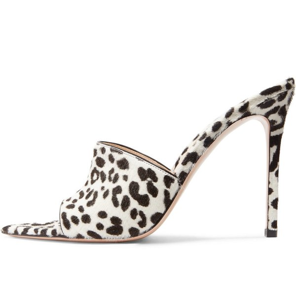 2019 New Fashion super high heels Pointed high heel leopard female sandals and slippers wedding sandals Customized women lady party shoes
