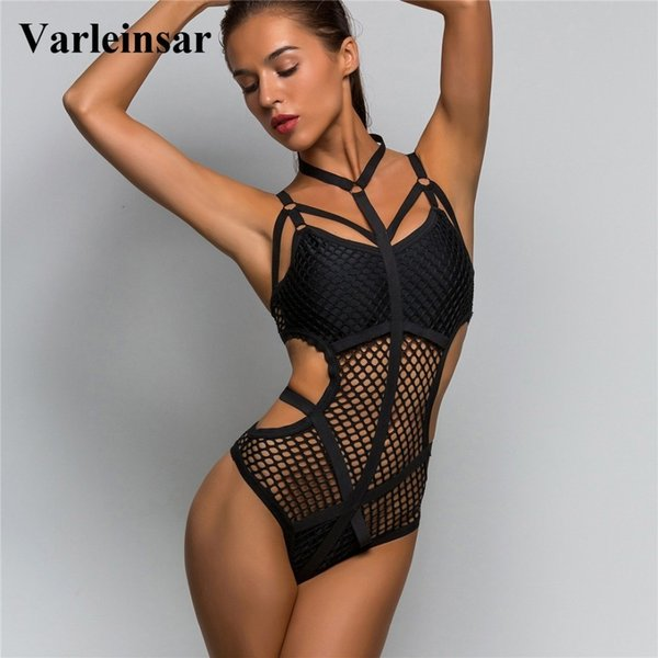 New Xs - 3xl 2019 Black Sheer Knit Net Mesh Sexy Women Swimwear One Piece Swimsuit Female Bather Bathing Suit Swim Monokini V536 S19709