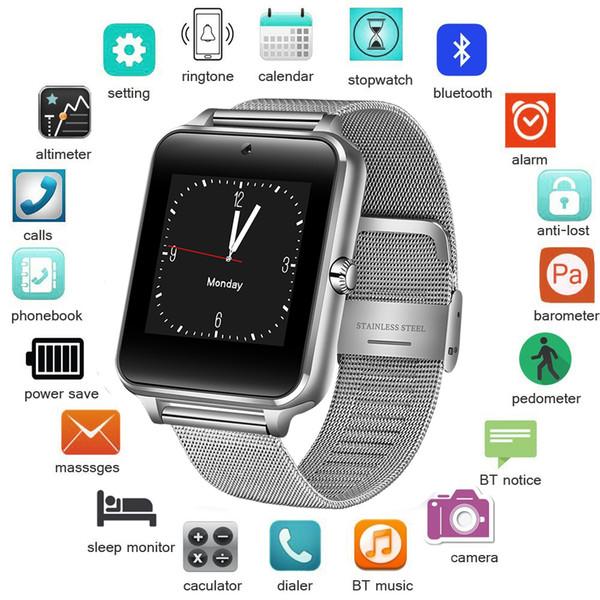 2019 Новый Нержавеющей Стали Bluetooth Smart Watch Женщины Мужчины Спорт Водонепроницаемый SmartWatch LED Цвет Сенсорный Экран Часы Поддержка SIM TF