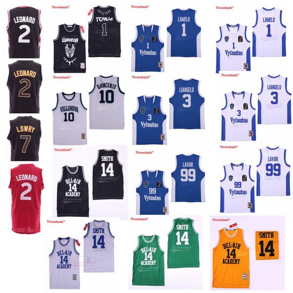 ليانجيلو لاميلو بول BC Vytautas # 99 Lavar Kawhi # 2 Leonard Kyle # 7 Lowry Jersey Will Smith # 14 Bel-Air Basketball T'Challa # 1 Wakanda