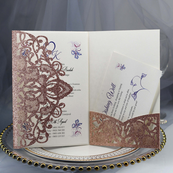 2019 Rose Gold Glitter Laser Cut Wedding Invitations With Rsvp Diy Red Champagne Glittery Bridal Shower Invitations Business Dinner Invites Diy
