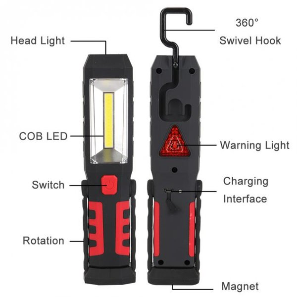 COB LED Flashlight Magnet UBS Rechargeable Working Light 3 Modes Lamp Hanging Hook Outdoors Portable Camping Lighting 001