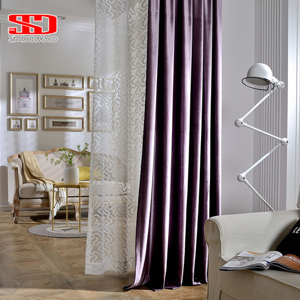 Solid Blackout Velvet Curtains For Living Room Purple Modern Blinds Luxury Shiny Drapes Window Treatments Fabric Cortinas Screen