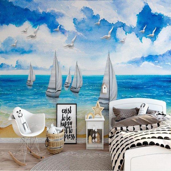 Satin Al Deniz Manzara Dekoratif Boyama Tv Arka Plan Duvar 3d