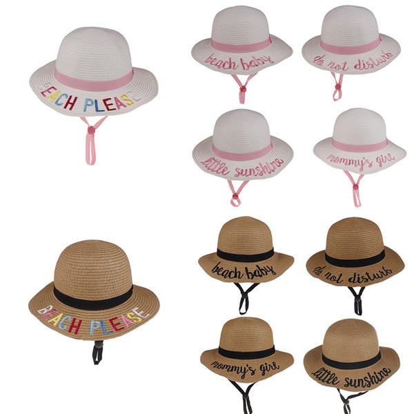 10 cor nova verão crianças balde chapéu de palha praia chapéus de sol tecido bordado letra bacia chapéu dos desenhos animados criança sol menina presente AA19139