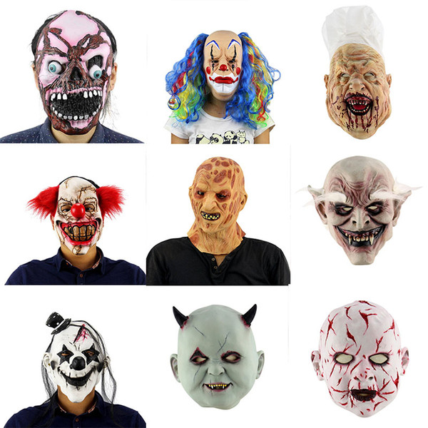 Halloween Scary Clown Mask Long Hair Ghost Scary Mask Props Grudge Ghost Hedging Zombie Realistic Latex Masks Horror!