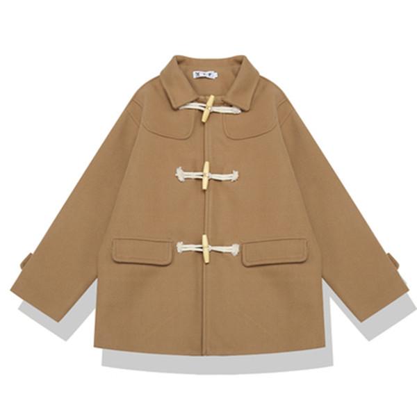 Возможно, у женщин шерстяное пальто отложным воротником хаки черный рог кнопка карман свободные зима опрятный стиль старинные C0071