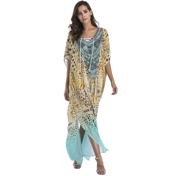 Plus Size Chiffon Fashion Print Bohemian Long Maxi Dress Boho Clothing 2018 Summer Sundress Beach Sarongs Large Size Robes Women J190513