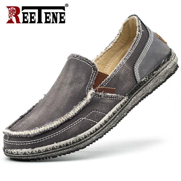 REETENE 2019 Outono Homens Sapatos Casuais Respirável Confortável Masculino Sapatos De Linho Moda Alpercatas Homens Tendência Novos Mocassins