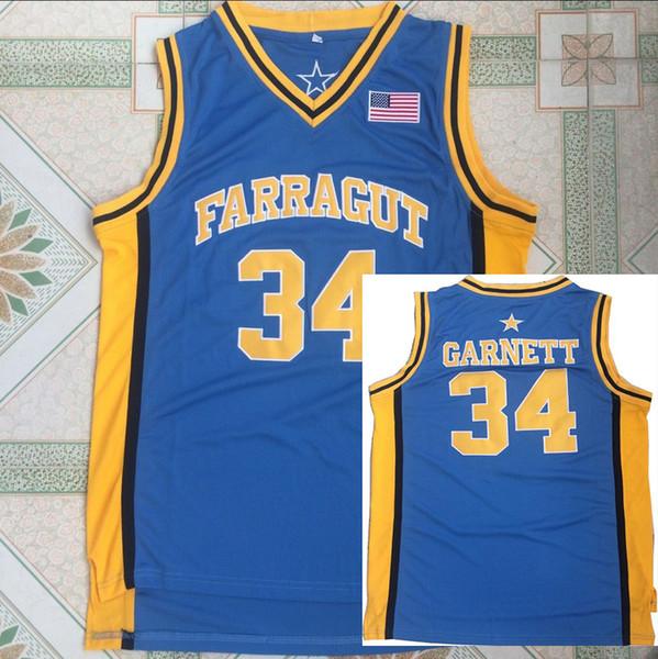 Kevin Garnett Jersey #34 Blue Team Farragut Kevin Garnett Basketball Jerseys High School Basketball Sport High Quality Free Shipping