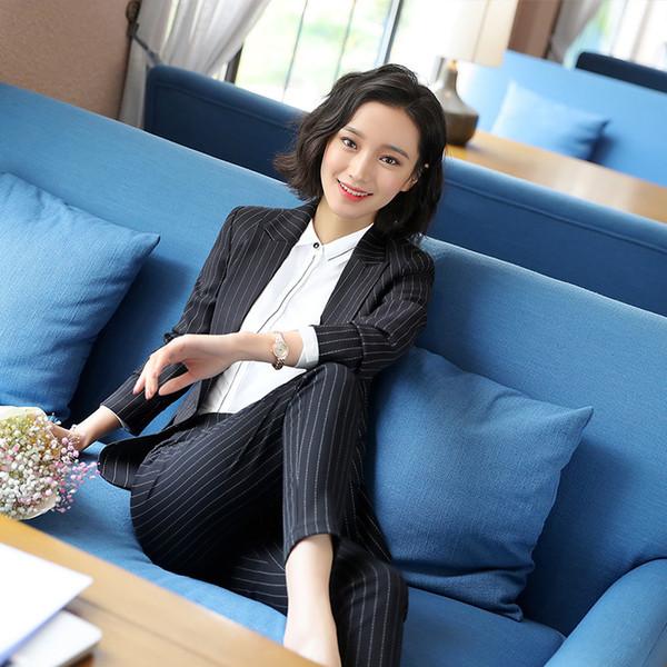 Schwarz grau gestreiften weiblichen Anzug Uniform Designs Hose mit Blazer Frauen elegante schlanke Business-Hosenanzug Office Wear 4XL