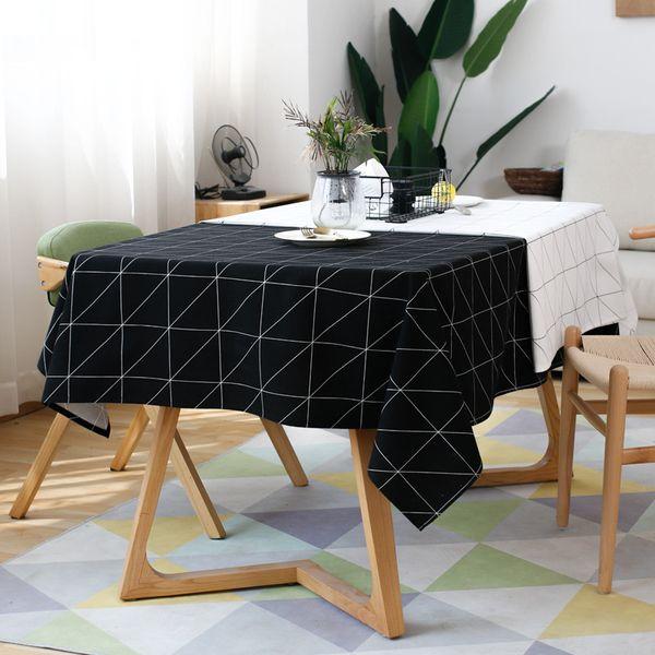 Moderno Cuadrado A Cuadros En Blanco Y Negro A Prueba de agua Ropa de mesa Paño de algodón Lino Mesa de centro Mantel Manteles Mantel de mesa