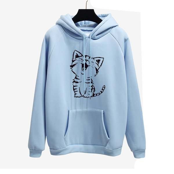 2019 New Popular Loose Women's Suit with Fleece and Thickened Hat Shirt Happy Cat Printed Long Sleeve Sleeve Jacket