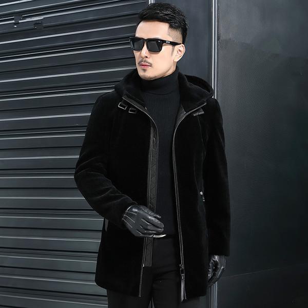 Gerçek Yün Kürk Sonbahar Kış Ceket Erkekler Koyun Shearlıng Kürk Erkekler Streetwear Uzun Ceketler Artı Boyutu Chaqueta Hombre Y1997