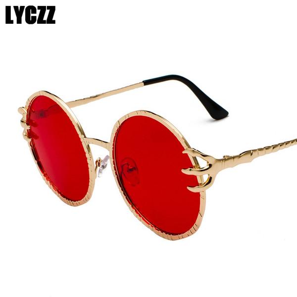 LYCZZ Marke Runde Metallrahmen Klare Linse Sonnenbrille Unisex Vintage Brillenfassungen Neue Outdoor Sonnenbrille Goggle UV400 gozluk