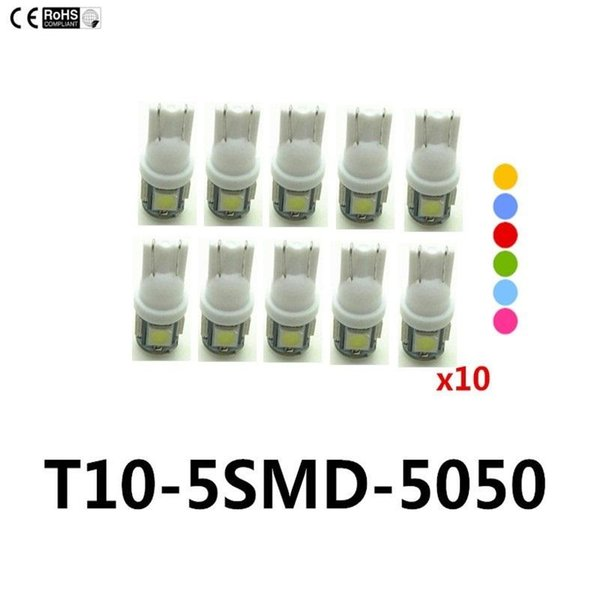 10X T10 5SMD DC 12V 1W 5050 5 SMD 192 168 194 W5W white/blue/red/green/yellow/pink Xenon LED Side Light Wedge Bulb Lamp For Car