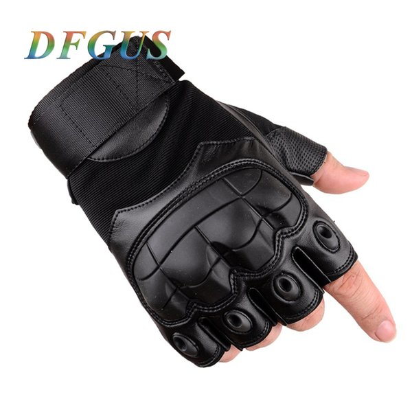 Army Men's Tactical Gloves Black Special Forces Outdoor Half Guantes Gym Combat Slip-resistant Cut Leather Gloves