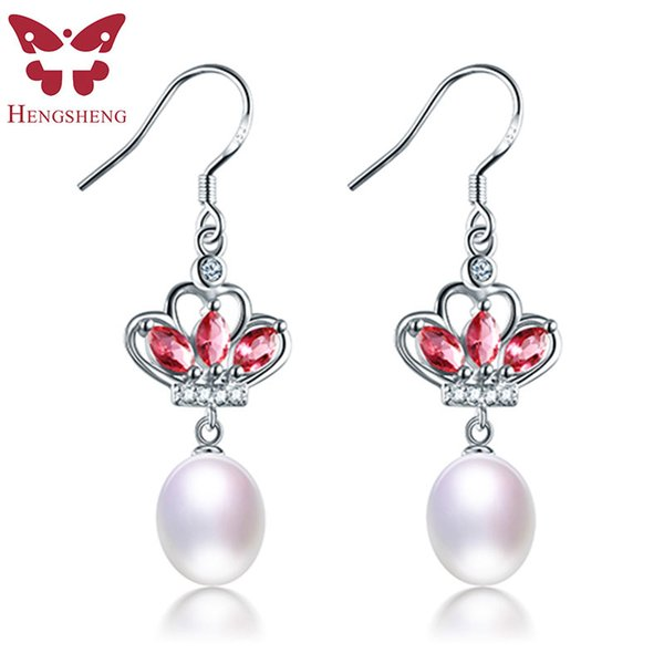 Red Crown 8-9mm Drop Pearl Earrings 925 Sterling Silver Earrings For Women 100% Genuine Pearl Earings Fashion Jewelry New