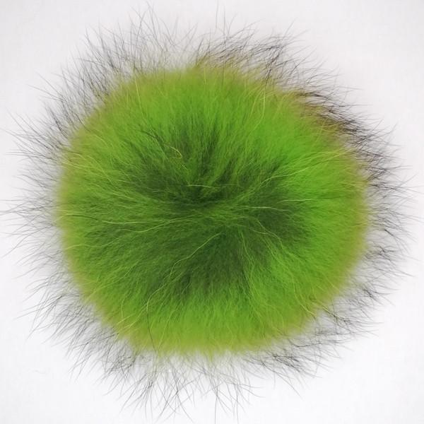 Gros Fluffy Grand 15cm forme ronde fourrure de raton laveur Pom pom Ball pour Beanie Chapeaux avec bouton pression en métal