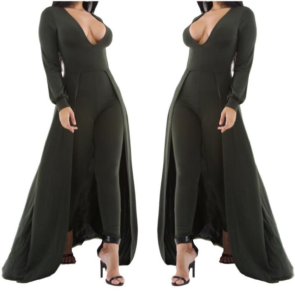 Adogirl Women Sexy V Neck Long Skinny Jumpsuit Autumn Winter White Green With Cloak Full Sleeve Club Playsuits Plus Size Rompers