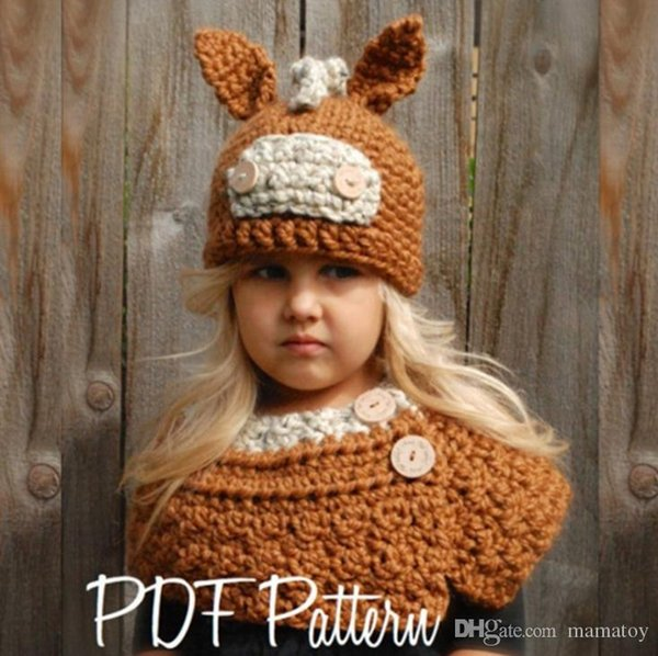 Kids Winter Knitted Hats Scarf kids Crochet caps children warm hadmade beanie girls cartoon animal shawl poncho capes for 3-8T