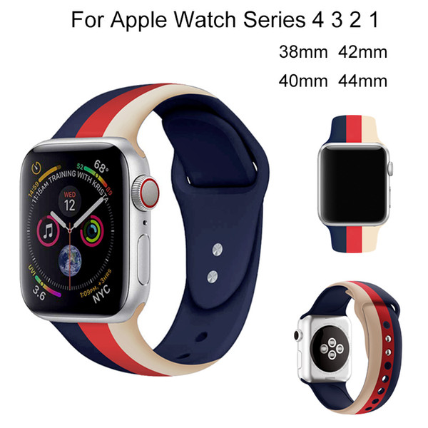 Sport Silicone Strap For Apple Watch 4 40mm 44mm Loop Bracelet Band For iwatch 3 2 1 38mm 42mm Soft Colorful Watchband Accessory