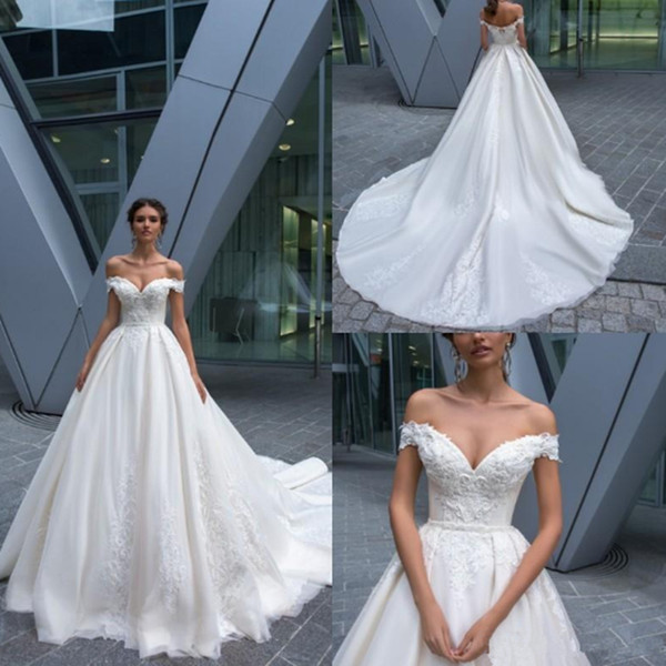 Elegant Lace Mermaid Wedding Dresses 2020 Off The Shoulder Tulle Applique Court Train Plus Size Wedding Bridal Gowns With Lace Up