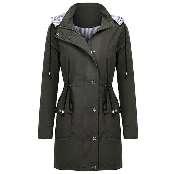 Outdoor Sports Waterproof Coat with Hood Womens Trench Coats Long Pocket Coat Women Casual Loose Trench Jacket British Style Overcoat
