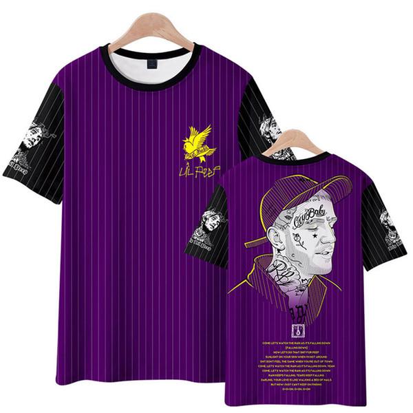 LilPeep Baskı Tasarımcısı Erkek Tişörtleri XXXTentacion Yuvarlak Boyun Kısa Kollu Erkek Çizgili Renkli Moda Erkek Tees Tops