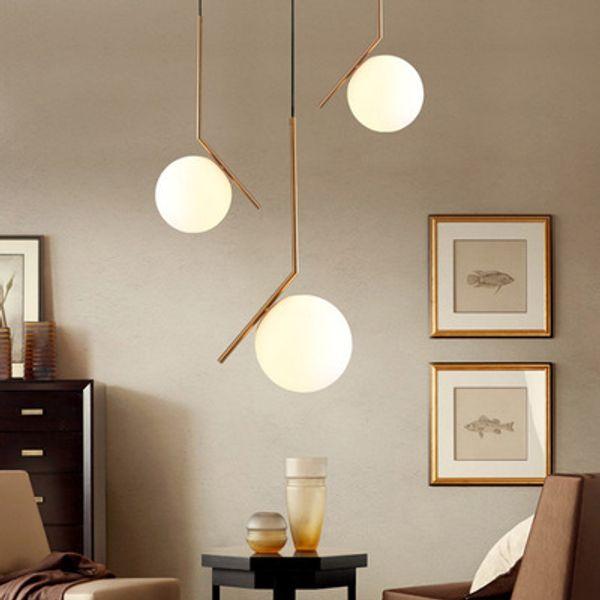 Modern Pendant Lights Kitchen Fixtures For Dining Room Home Hanging Lamp  Gold Glass Ball Restaurant Decor Lighting Lustre AC 90 265V Silver Pendant  ...