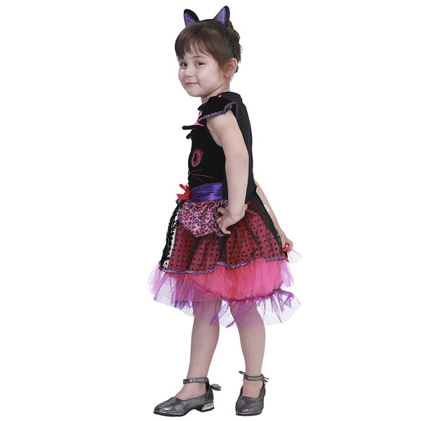 heap Girls Costumes Eraspooky 2-4T Cute Cat Tutu Dress Girls Animal Halloween Costume for kids Miss Kitty Toddler Cosplay Tail Carnival F...