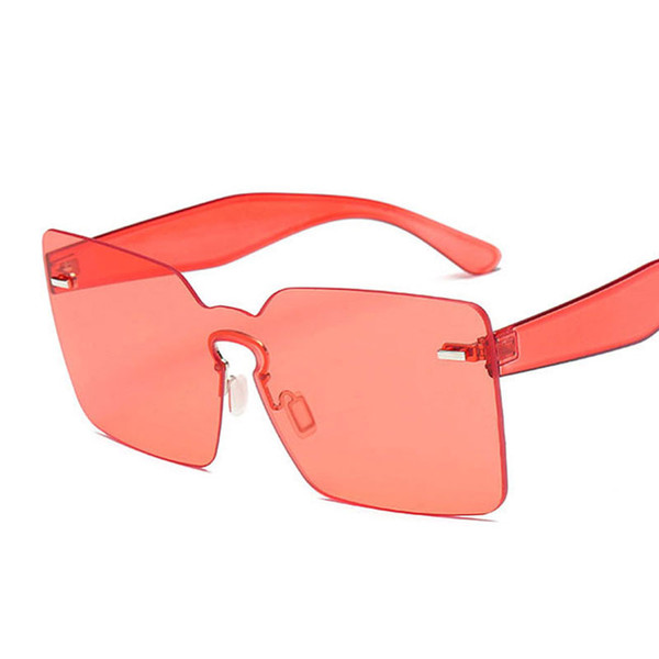 Luxury-Flat Top Candy Color Integrated Lens Women Goggle Sunglasses Nail Decoration Men Rimless Red Tinted Fashion Glasses