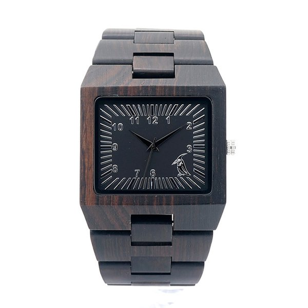 Wholesale Handcrafted Wood Original Watches With Band Custom Logo Rectangle Design Your Own Brand Ebony Wooden Wristwatch BOBO BIRD L23