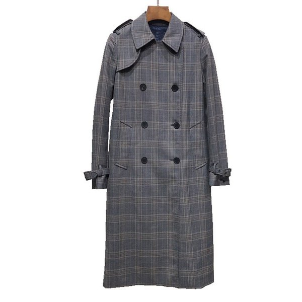 2018 fall and winter British style double-breasted classic plaid women casual long trench coat with belt