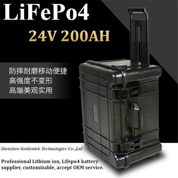 Trolley Case lifepo4 24V 200AH Batterie 10A 24V Ladegerät 100A 200A Entladung für Elektro Tourenwagen RV EV Außenborder