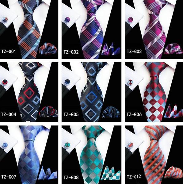 Mens Designer Plaid Series Cravates Ensemble pour Hommes Classique Soie Hanky Boutons De Manchette Jacquard Tissé En Gros Cravate Cravates Cravates Mens Cravate Ensemble
