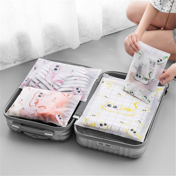Cute cartoon cat PEVA waterproof storage bag suit For clothes underwear shoes Translucent Packaging Bag Travel Luggage organizer