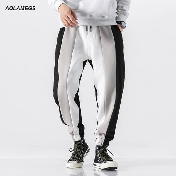 Aolamegs Men Casual Track Pants Splice Contrast Pants Men Letter Print Elastic Waist Sweatpants High Street Streetwear