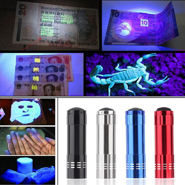 top popular Aluminum Alloy Portable UV Flashlight 9 LED Violet Lamp Flashlight Torch Mini Multifunction Outdoor Emergency Flashlight 4 Colors DS0561 ZX 2021
