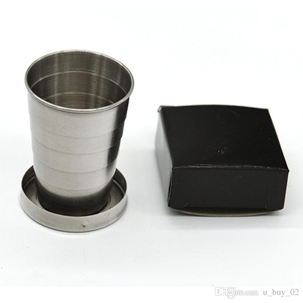 400 pcs Stainless Steel Portable Outdoor Travel Camping Folding Foldable Collapsible Cup 75ml with Key Ring