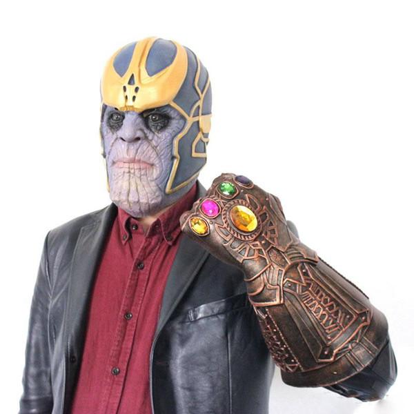 Vingadores 3 Guerra Infinito Thanos Arma Infinito Luvas figuras de ação Gem Silicone Chapelaria Máscara Halloween Carnaval Cosplay Dress up Adereços