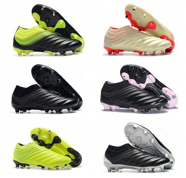 Erkek Copa 19 Sıcak Slip-On Şampanya Güneş Kırmızı Futbol Futbol ayakkabı Çizmeler Scarpe Calcio Cleats 19 + 19.1 FG SOCKFIT AG 19 + x 19 Boyutu 39-45