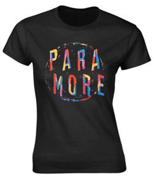 O t-shirt cabido das mulheres da espiral da pintura de Paramore '- NOVO OFICIAL!