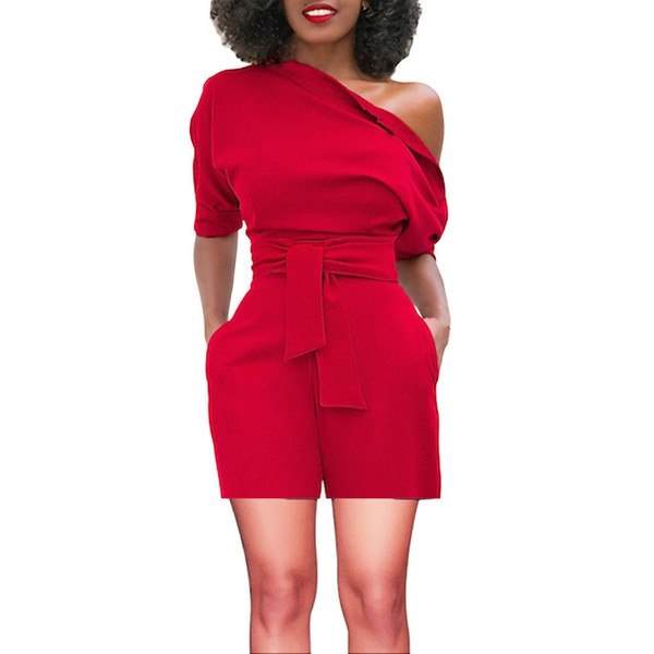 Playsuit Women's Sexy Off Shoulder Ruffle Short Sashes Fashion Casual Jumpsuit Rompers Women Top Summer Beach