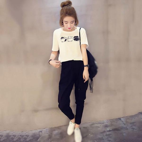 2 шт. Черный наборы брюки женщины женский комплект костюм лето свободные топ дамы прохладный брюки одежда повседневная мультфильм Белый