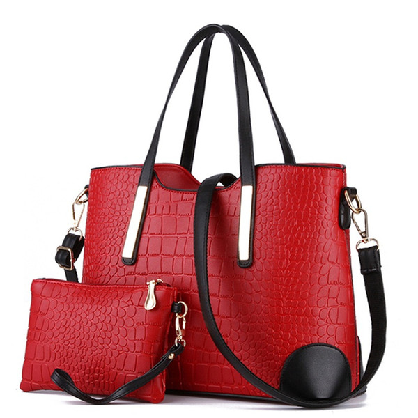 2019  Crocodile Big Composite Women Handbag Famous  Design Bucket Tote Solid Fashion Shoulder Bag Elegant Lady DXF02