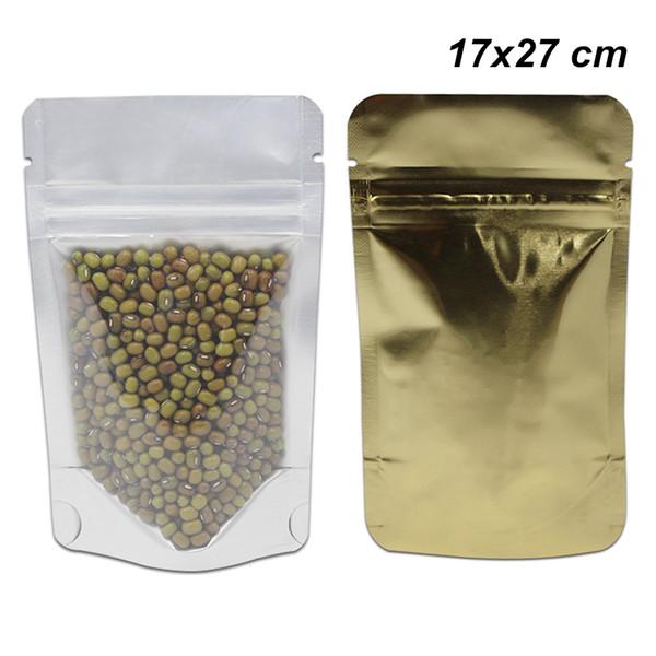 30pcs / lot 17x27 cm Gold Aufstehen Zip Lock Reiner Aluminiumfolie Durchsichtiger Kunststoff Wiederverschließbare Lagerung Verpackung Taschen Wiederverwendbare Mylar Folie Zip Lock Pouch